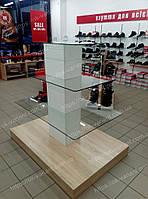 Стеллаж островной, торговая горка, стеклянный стеллаж, фото 1