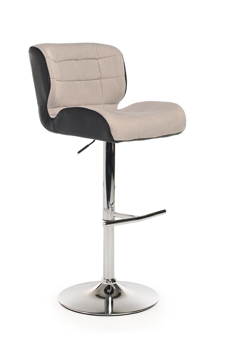 Барный стул В-75 (ткань/эко.кожа, Серый/Черный)