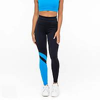 Лосины и леггинсы женские спортивные высокий пояс Lavina черные с голубым