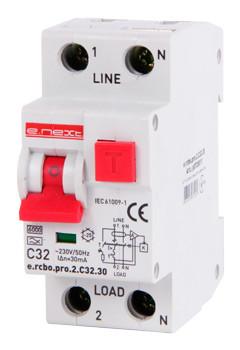 Вимикач диференціального струму з функцією захисту від надструмів. e.rcbo.pro.2.С32.30,1P + N,32А,С,тип А,30ma