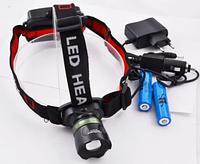 Налобный фонарь Bailong Police BL-T03-T6 Cree, от аккумулятора, три режима, 800лм, Zoom, 800м, фонарик на лоб