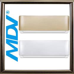 Кондиционер MDV MDSA-12HRN1 на 35 м² Aurora on/off типа с дизайнерской серебристой или золотой панелью, дизайн