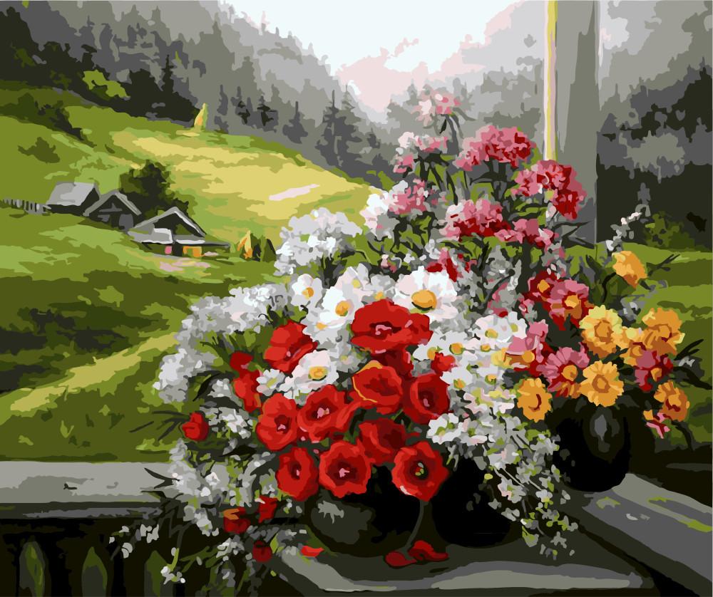 Картина по номерам Букеты на окне GX9500 40x50см. Brushme