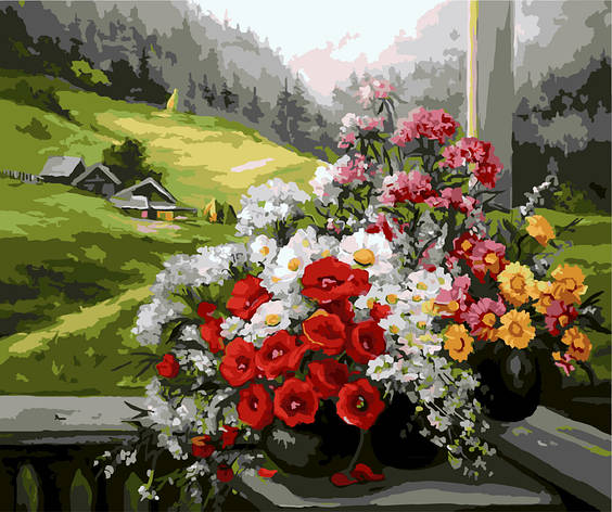 Картина по номерам Букеты на окне GX9500 40x50см. Brushme, фото 2