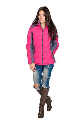 Куртка демисезонная женская Спорт  Мари малина/серый (42-50)