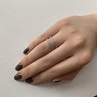 Кольцо двойное с цирконием, фото 1