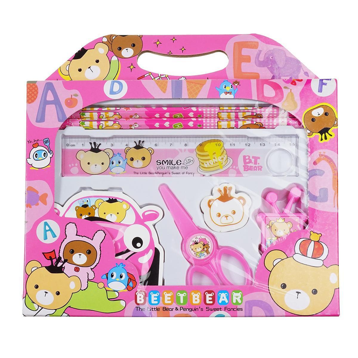 Канцелярский набор для дошкольников 7 предметов, цвет розовый