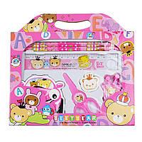 Канцелярский набор для дошкольников 7 предметов, цвет розовый, фото 1