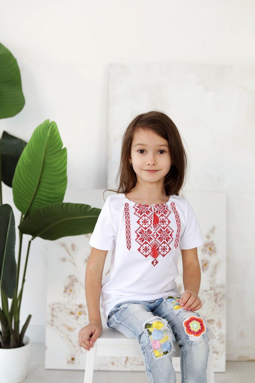 Сучасна вишита дитяча футболка з орнаментом D-04