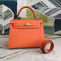 Оранжевая кожаная женская сумка Hermes Kelly 28см. Люкс!