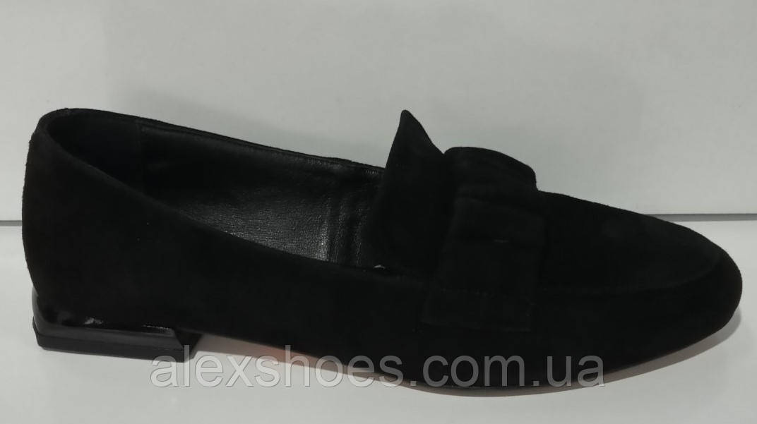 Туфли женские на низком ходу из натуральной замши от производителя модель КС2008-4