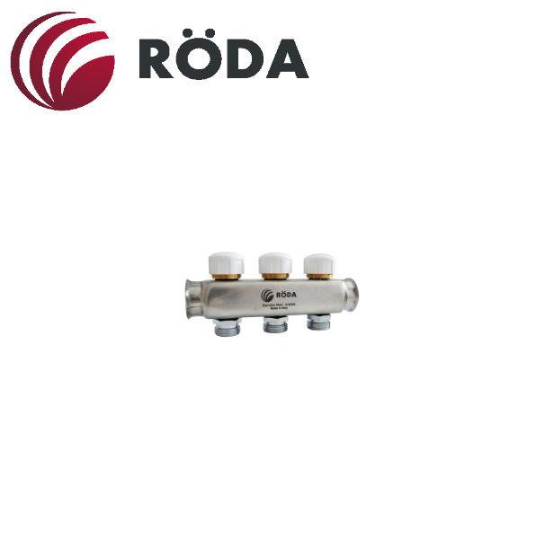 Коллектор распределительный Roda на 6 выходов с термоклапаном (латунь)