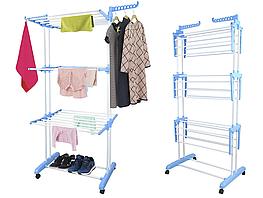 Трехуровневая сушилка для белья на колесах Многоярусная сушилка для вещей одежды Garment rack with wheels