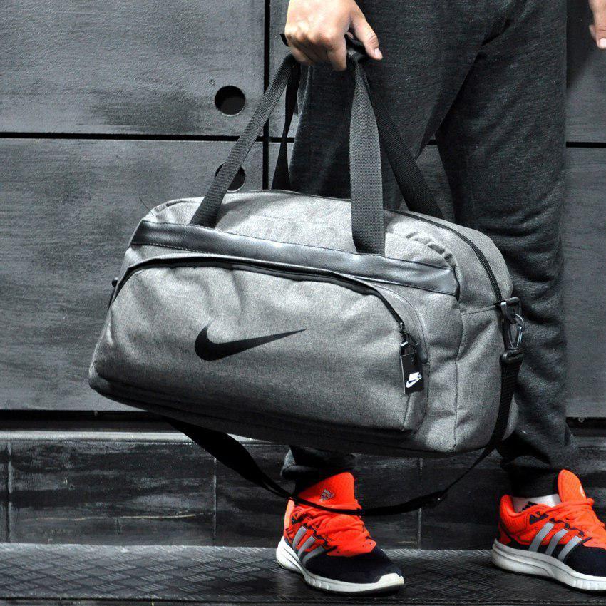 Сумка для путешествий, дорожная Найк, спортивная, и не промокаемая Nike, светло-серая! Коттон, реплика!