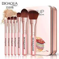 Набор кистей Bioaqua 7 шт Make up beauty в металлическом футляре (розовые), фото 1