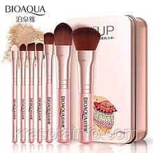 Набір кистей Bioaqua 7 шт Make up beauty в металевому футлярі (рожеві)