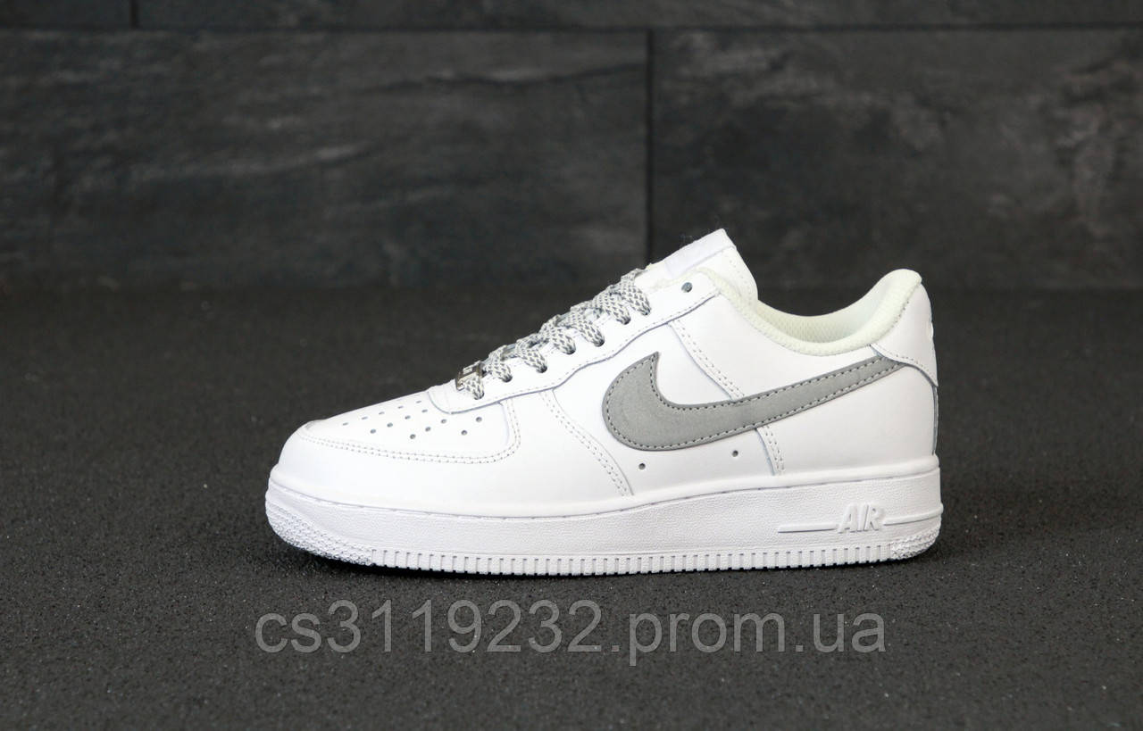 Мужские кроссовки Nike Air Force рефлектив (белые)