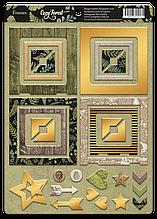 Рамки из чипборда с фольгированием (золото) для скрапбукинга 30шт Cozy Forest
