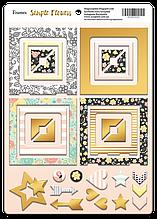 Рамки из чипборда с фольгированием (золото) для скрапбукинга 30шт Simple Flowers
