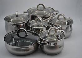 Большой набор кухонной посуды кастрюль 12 предметов Benson BN-212
