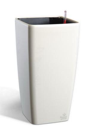 Вазон с системой автополива  Quadrato Flower Lover 18x18x34  белый глянцевый