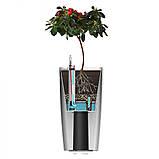 Вазон с системой автополива  Quadrato Flower Lover 18x18x34  белый глянцевый, фото 3