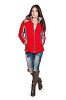 Куртка осень-весна Мари красный/серый (42-50)