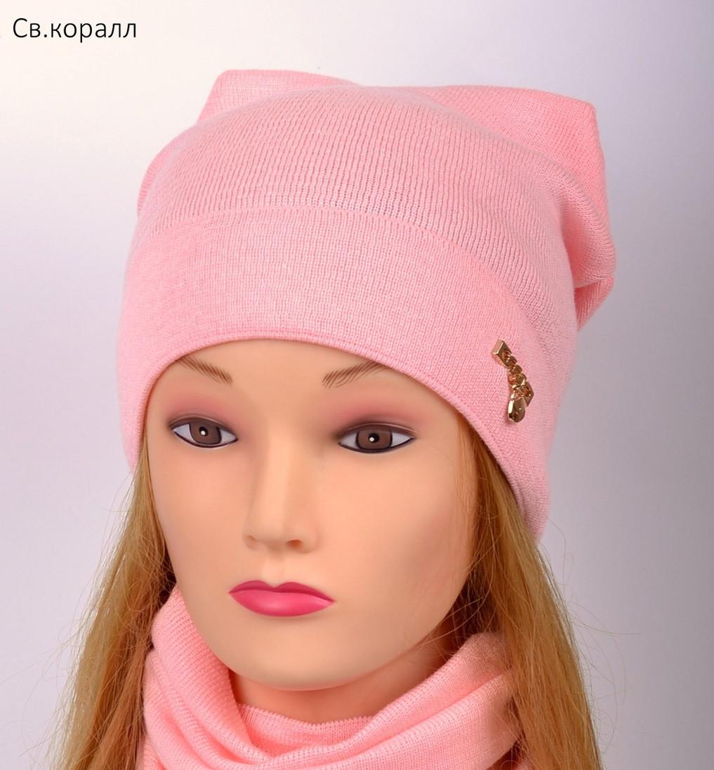 Красивая весенняя шапка для девушки 2 года, 2.5 года, 3 года, 3.5 года, 4 года, 5 лет, 52, Коралловый