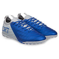 Сороконожки-шиповки взрослые мужские Обувь для футбола CR7 Полиуретан Серо-синие (СПО 190711-2) 40, фото 1