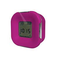 Часы настольные с двухцветной светодиодной подсветкой, розовые
