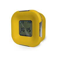 Часы настольные с двухцветной светодиодной подсветкой, желтые