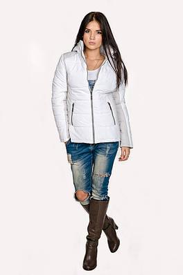 Куртка демисезонная Мари  белый/светло-серый (42-50)