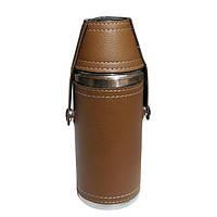 Фляга сувенирная коричневая с двумя рюмками