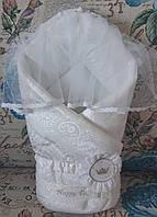 Одеяло-конверт жаккард с вуалью молочное ТМ Happy Tot