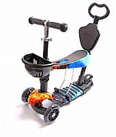 Детский самокат Scooter 5 в 1 Fire and Ice с родительской ручкой