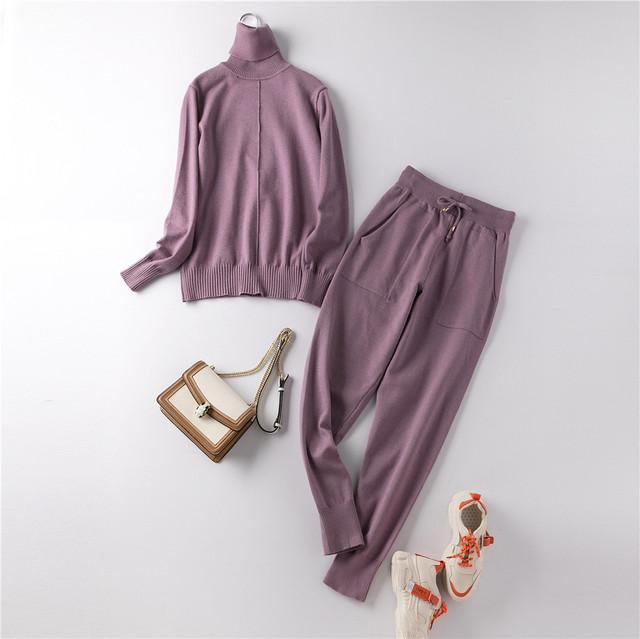 Костюм женский двойка трикотажный кофта и штаны, черный  размер S/M