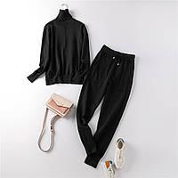 Костюм жіночий двійка трикотажний кофта та штани, чорний розмір S/M
