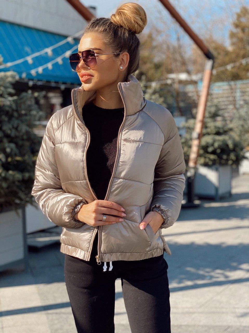 Женская короткая деми куртка с разрезами сбоку 2201272