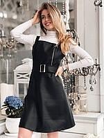 Черный кожаный сарафан с расклешенной юбкой и поясом 5003977, фото 1