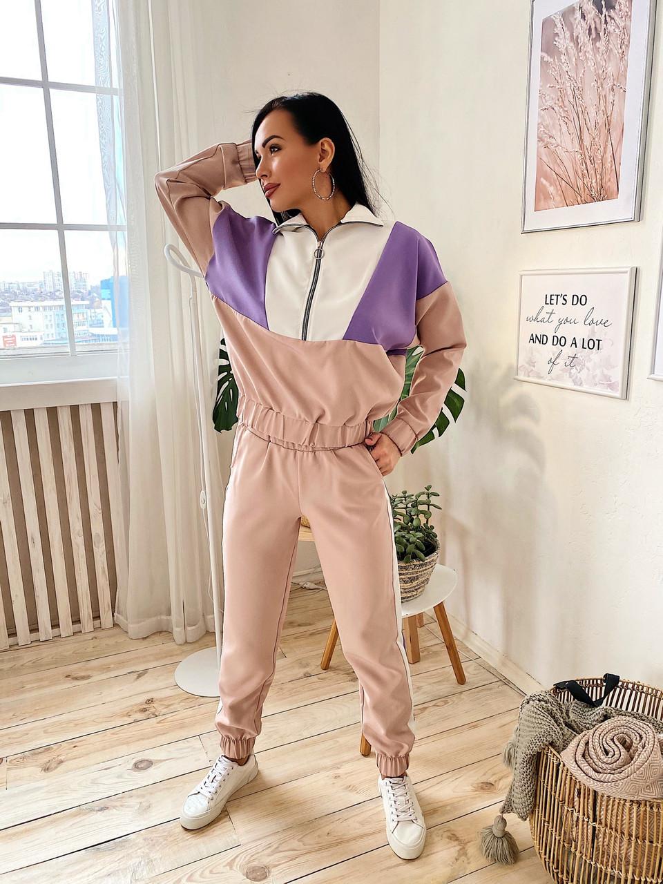 Женский спортивный костюм из костюмной ткани со свободным худи 405864