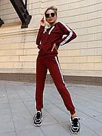Спортивный женский костюм с зауженными штанами и кофтой на молнии 2205869