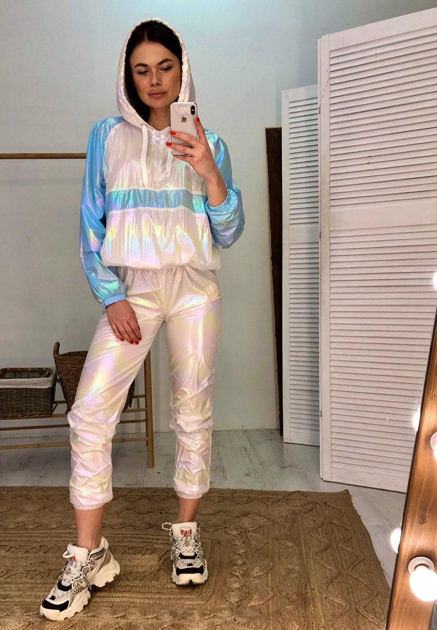 Легкий женский спортивный костюм из плащевки с худи 6005872