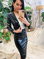 Женский кожаный юбочный костюм с укороченным жакетом 410519, фото 1