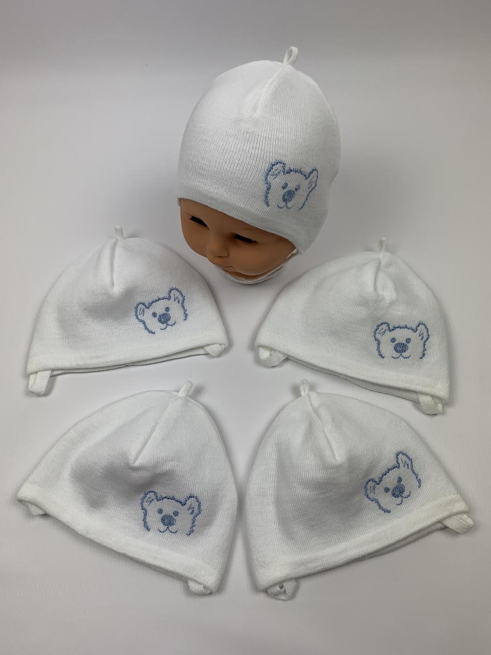 Детские польские демисезонные шапки для новорожденных оптом, р.36-38, Grans