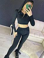 Замшевый черный брючный костюм с топом с капюшоном 2210525, фото 1
