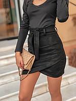 Замшевая короткая женская юбка с асимметрией и поясом 5011361, фото 1