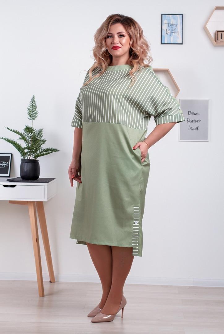 Женское льняное платье в полоску батал размеры 52-66 оливка