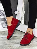 Женские замшевые туфли на низком ходу и на шнурках 7524132
