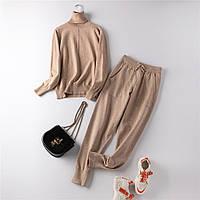 Костюм женский двойка трикотажный кофта и штаны, песочный  размер S/M, опт, фото 1
