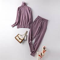 Костюм жіночий двійка трикотажний кофта та штани, світло фіолетовий розмір S/M